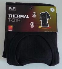 Mens F&F Size Small Black Ribbed Short Sleeve Thermal T Shirt Bnip Rrp £8