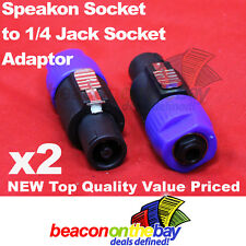 2x Speakon Jack to 1/4'' Mono Jack Female Socket Adapter Guitar cable to Speaker