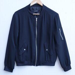 Fab ZARA Ladies Black Chiffon Type Zip Up Blouson/Bomber Jacket size M / 12-14