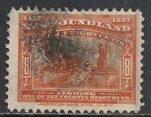 NEWFOUNDLAND SCOTT 67 USED FINE - 1897 8c RED ORANGE   CABOT ISSUE   CV $15
