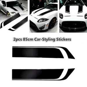 2X Waterproof Stripe Graphics Sticker Hood Decal Racing Sports Decor For Car SUV