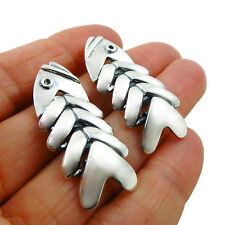Plata esterlina 925 Taxco Molina Flexible pendientes de Esqueleto De Pescado En Caja De Regalo