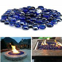 Blue Fire Pit Glass Beads Premium Reflective Fireplace Drops Round Rocks 10 lb