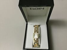 ELGIN GOLD WATCH, DIAMOND ACCENTS, SQUARE FACE, CASE INCLUDED, NEW BATTERY