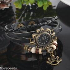 New Fashion Quartz DIY Weave Leather Bead Bracelet Watch For Women