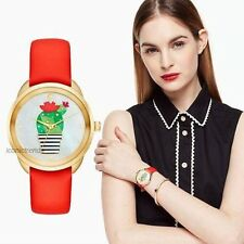 NWT +Box Kate Spade Cactus Crosstown Prickly Pear Red Leather Band Watch KSW1307