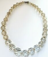 "Vintage 1950s 14.5"" Czech Faceted Glass Necklace"