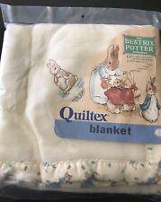 New Vintage Quiltex Beatrix Potter Peter Rabbit Crib Baby Blanket Design Ilgwu