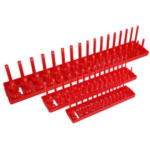3pc Storage Socket Stand Rail Tray Set Holds 90 Sockets 1/4 3/8 1/2 Inch Drive