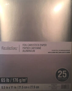 """8 1/2 X 11 """"SILVER FOIL """" SCRAPBOOKING / CRAFTS ~25 SHEETS~ BY RECOLLECTIONS"""