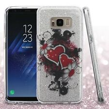 For Samsung Galaxy S8+ PLUS - Hearts Flower Silver Full Glitter Hybrid Skin Case