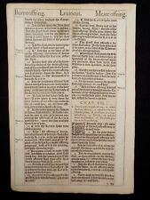1611 KING JAMES BIBLE LEAF PAGE *BOOK OF LEVITICUS 5:10-7:6 * BURNT OFFERING*VGC