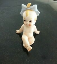 Vintage  Kewpie Doll Porcelain Figurine Blue Bow Earrings