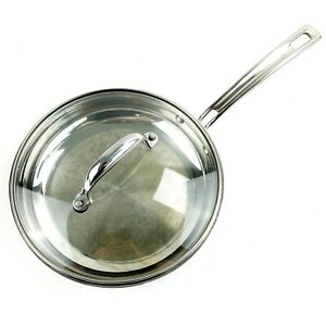 """CUISINART Induction Ready 10"""" Skillet Fry Pan w/ Lid MCP22-24N Stainless Saute"""
