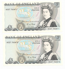 2 x Bank of England Five Pounds Bank Note  <> Series Bank Note <> 1988-91
