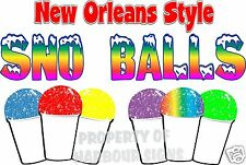 """New Orleans Style Sno Balls Decal 14"""" Snow Concession Trailer Food Truck Cart"""