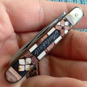 Vintage Antique Karlsbad Inlaid Horn Mosaic Jack Pen Fob Folding Pocket Knife