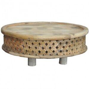 Bristol Carved Legs Bamileke Round Drum Coffee Table  INDIAN HANDMADE FURNITURE