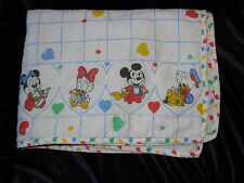 VINTAGE BABY BLANKET WHITE DISNEY BABIES MICKEY MINNIE MOUSE DONALD DAISY DUCK