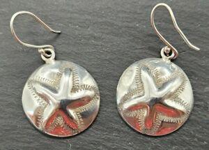 Vintage 925 Sterling Silver Drop Dangle Earrings Starfish Sand Dollars Circles