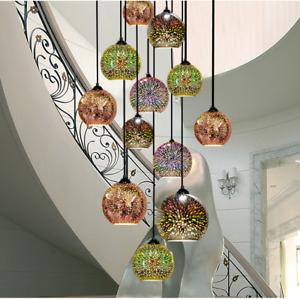 LED Chandelier 3D Glass Ceiling Lamp Pendant Hanging Light Fireworks Lighting