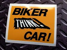 BIKER THINK CAR Motorcycle Safety Awareness Sticker Decal 1 off 100mm