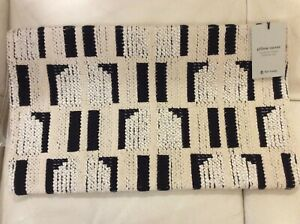 West Elm Abstract Windowsill Lumbar Pillow Cover NWT! 12x21 Black & Stone White