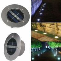 LED Solar Power Buried Light Under Ground Disk Light Path Way Waterproof Lamp