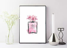 print/poster drawing painting pink coco chanel bottle with floral detail
