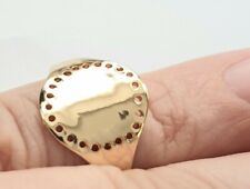 SIMPLE RETRO GOLD TONE SIGNET RING SIZE N