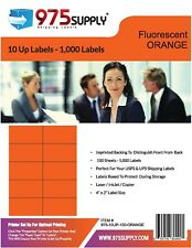 Closeout 975 Supply Brand 10up Labels Fluorescent Orange 4 X 2 100 Sheets