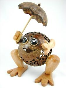 Handmade Wooden Crafts Coconut Shell Wood Lamp Frog Lamp for Home Decoration
