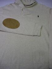 Polo By Ralph Lauren Men's L/S Cream Color Elbow Patch Sweater Shirt XXL