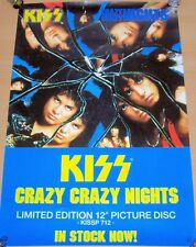 "KISS RECORD COMPANY PROMO POSTER ""CRAZY CRAZY NIGHTS"" PICTURE DISC SINGLE 1987"