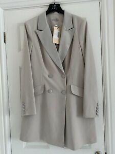 "12 Storeez (US) BNWT, ""Double Breasted Tuxedo Dress"" Pearl Grey, Size L (UK16)"