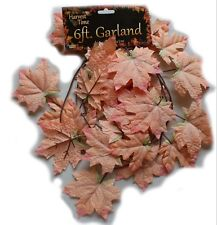 3 x 6 ft Autum Garlands, Harvestorange Leaf Garland, Orange 18 ft Total!