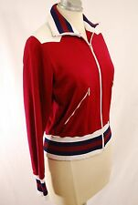 Merboso 1970s Vtg Zip Red Cardigan Sweater Made in Switzerland S/M Us 10 Eu 42