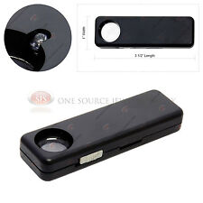 LED Pocket 10x Illuminated Magnifier Acrylic Lens Magnification Lighted Battery