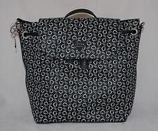 GUESS Famous Logo Backpack School Book Bag Sac Purse Black White Monogram New