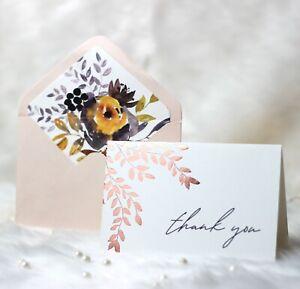 MUDRIT 24 Gold Foil Thank You Cards with Envelope & Sticker| Wedding, babyshower
