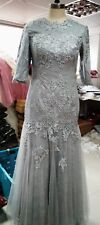 Beautiful grey silver mermaid style formal evening dress with 3D lace& sleeves