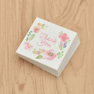 THANK YOU Rewards Message Card Flower Pattern Mini Paper Craft Bouquet Decor