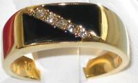 Mens gold ring onyx signet pinky 18kt steel black cz cubic zirconia all size775