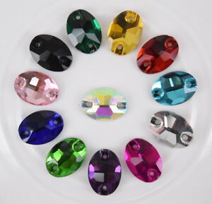 Sew On Crystal Two hole Flat back Oval Faceted Color Glass Rhinestone Jewels