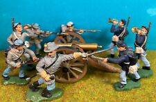 Britains Herald 45mm Civil War Plastic Toy Soldiers with Deetail / Marx Cannon