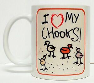 300ML CERAMIC COFFEE MUG - I LOVE MY CHOOKS!