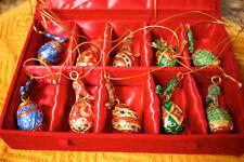 BOXED SET OF 10 - CLOISONNE EGGS - VELVET BOX