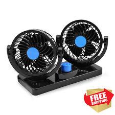 12v Electric Car Fan 360 Degree 2 Speed Dual Head Auto Cooling Air Circulator