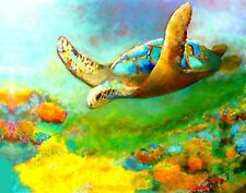 OIL PAINTING SEA TURTLES GREEN 8 BY 10 INCHES /HAND PAINTED ON CANVAS SIGNED