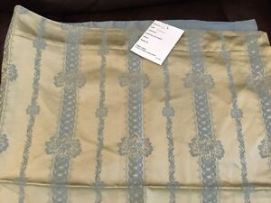 "NWT Fino Lino Pillow Sham Cover Silk Gold Slate Color 20""x35"" $345.00 MSRP"